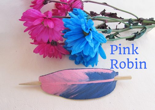 leather feather barrettes