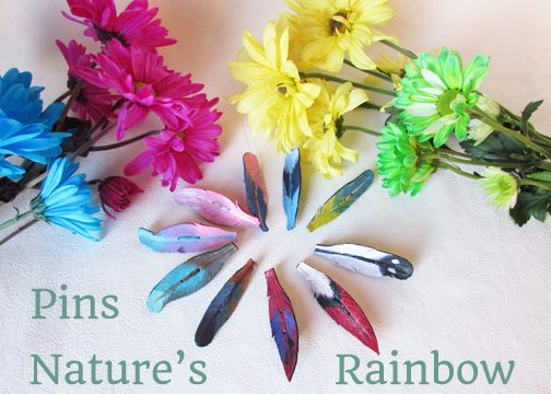 leather feather pins