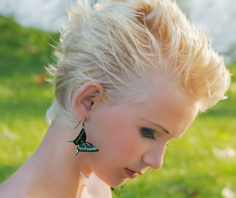 green-butterfly-earrings